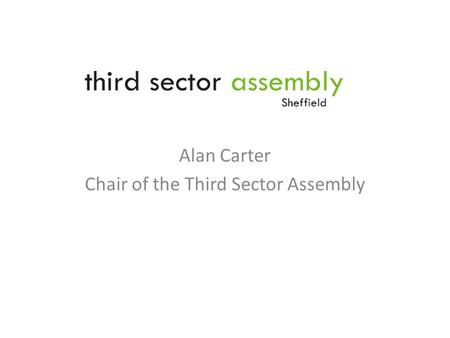 Alan Carter Chair of the Third Sector Assembly. Where are we going as a city? Contribution and role of the Third Sector in Sheffield State of the Sector.