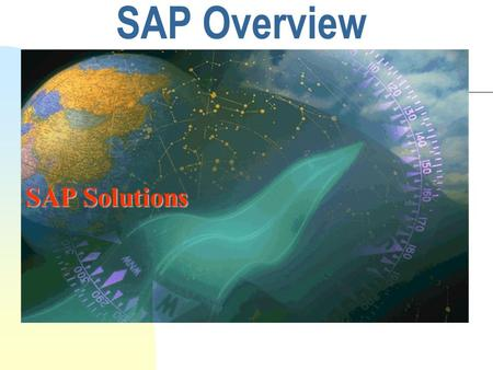 SAP Overview SAP Solutions. 2 Agenda for the overview Introduction to the SAP R/3 system SAP system's functionality SAP implemenation methodology mySAP.com.