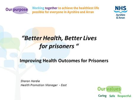 "Improving Health Outcomes for Prisoners ""Better Health, Better Lives for prisoners "" Sharon Hardie Health Promotion Manager - East."