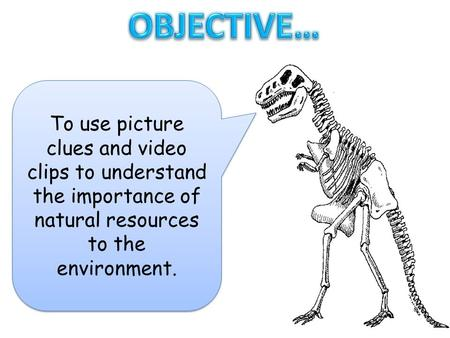 OBJECTIVE… To use picture clues and video clips to understand the importance of natural resources to the environment.