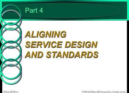 © 2006 The McGraw-Hill Companies, Inc. All rights reserved.McGraw-Hill/Irwin Part 4 ALIGNING SERVICE DESIGN AND STANDARDS.