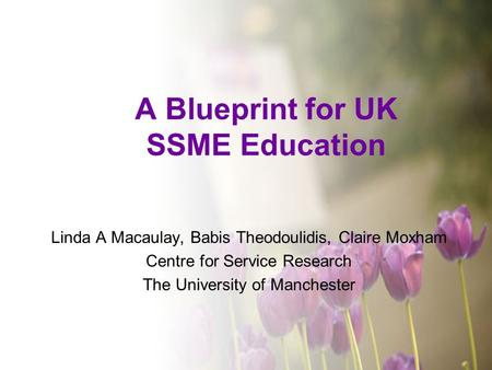 A Blueprint for UK SSME Education Linda A Macaulay, Babis Theodoulidis, Claire Moxham Centre for Service Research The University of Manchester.