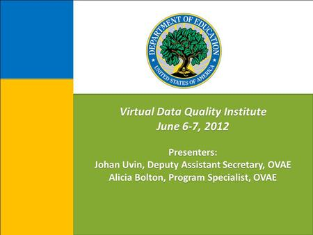 Virtual Data Quality Institute June 6-7, 2012 Presenters: Johan Uvin, Deputy Assistant Secretary, OVAE Alicia Bolton, Program Specialist, OVAE.