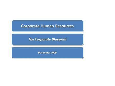 Corporate Human Resources The Corporate Blueprint December 2009.