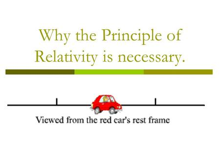 Why the Principle of Relativity is necessary..