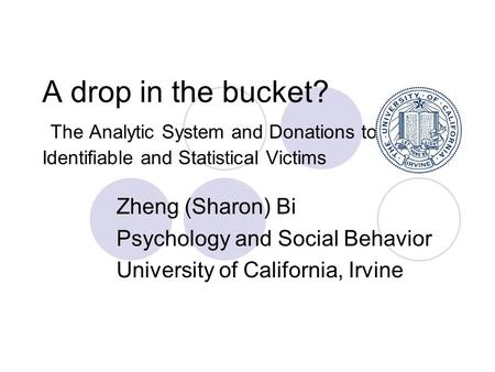 A drop in the bucket? The Analytic System and Donations to Identifiable and Statistical Victims Zheng (Sharon) Bi Psychology and Social Behavior University.