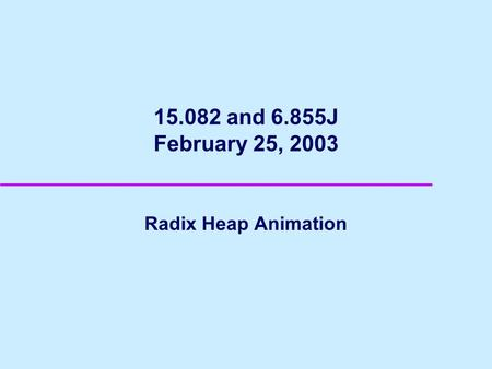 15.082 and 6.855J February 25, 2003 Radix Heap Animation.