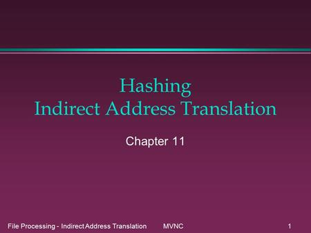 File Processing - Indirect Address Translation MVNC1 Hashing Indirect Address Translation Chapter 11.