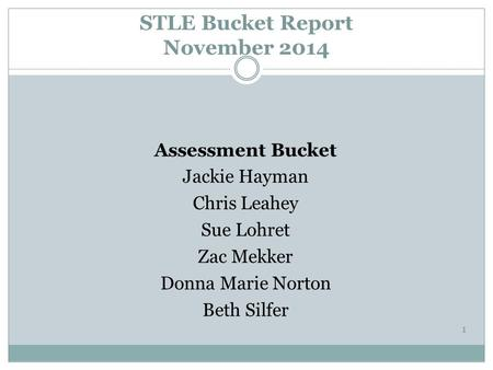 STLE Bucket Report November 2014 Assessment Bucket Jackie Hayman Chris Leahey Sue Lohret Zac Mekker Donna Marie Norton Beth Silfer 1.