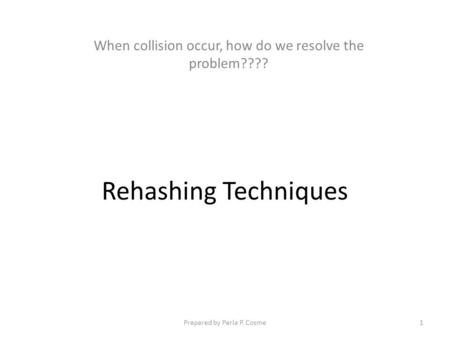 When collision occur, how do we resolve the problem????