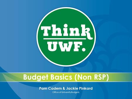Budget Basics (Non RSP) Pam Cadem & Jackie Pinkard Office of University Budgets.
