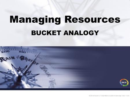 Managing Resources BUCKET ANALOGY © 2005 IDS Solutions Inc. All Rights Reserved Duplication for resale is illegal Version1.1 Nov06 BACK.