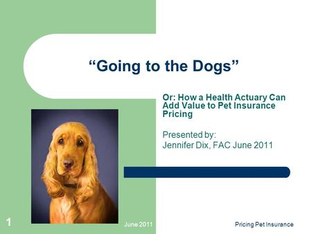 "June 2011Pricing Pet Insurance 1 ""Going to the Dogs"" Or: How a Health Actuary Can Add Value to Pet Insurance Pricing Presented by: Jennifer Dix, FAC June."