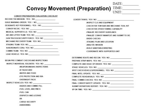 Convoy Movement (Preparation) CONVOY PREPARATION EVALUATION CHECKLIST