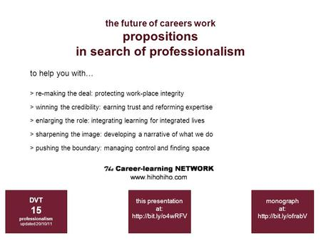The future of careers work propositions in search of professionalism DVT 15 professionalism updated 20/10/11 monograph at:  to help.