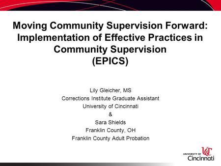 the effectiveness of community correction programs