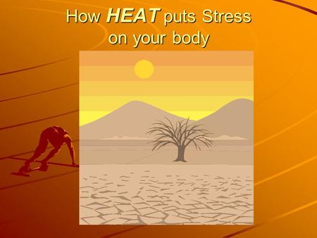 How HEAT puts Stress on your body. PRESENTATION GOAL: TO HELP YOU UNDERSTAND THESE ITEMS: 1.Your body's handling of heat 2.Hot environments increase likelihood.