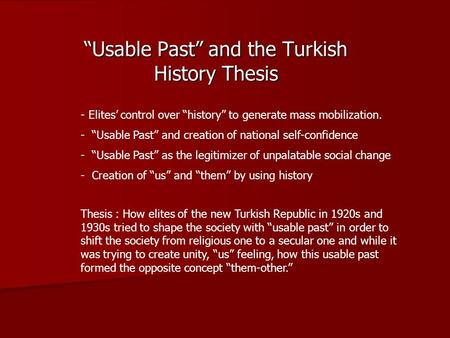 the launching of the turkish thesis of history Usa book launching lisbon book great power that day for king sobieski utterly routed the turkish army of east european family history.