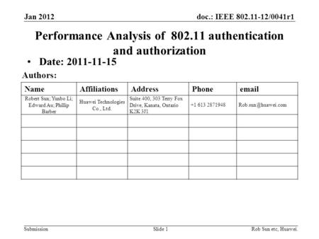 Doc.: IEEE 802.11-12/0041r1 Submission NameAffiliationsAddressPhoneemail Robert Sun; Yunbo Li; Edward Au; Phillip Barber Huawei Technologies Co., Ltd.