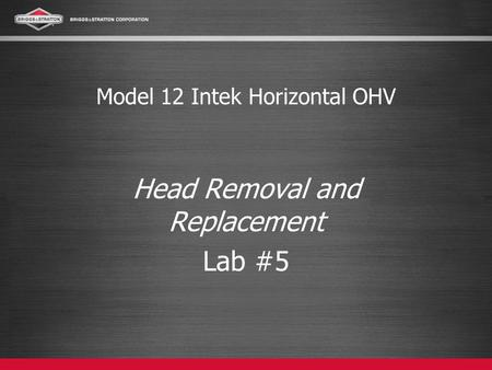 Model 12 Intek Horizontal OHV Head Removal and Replacement Lab #5.