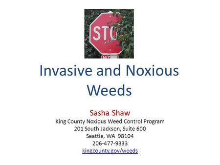 Invasive and Noxious Weeds