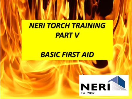 NERI TORCH TRAINING PART V BASIC FIRST AID. -Burns -Heat Illness -Heat Stroke This information was provided through a free first aid PowerPoint provided.