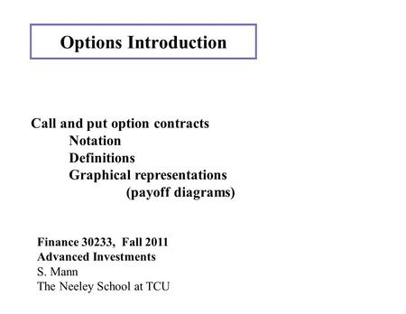 Options Introduction Finance 30233, Fall 2011 Advanced Investments S. Mann The Neeley School at TCU Call and put option contracts Notation Definitions.