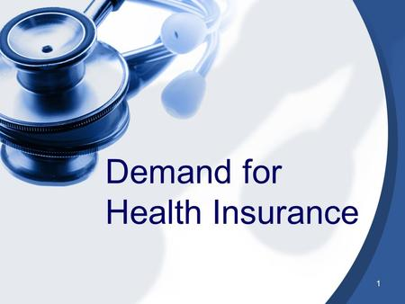 1 Demand for Health Insurance. 2 Which Investment will you pick Expected Value $2600 Choice 2 $5000 -$1000 0.6 0.4 Choice 1 $5000 $1000 0.4 0.6.
