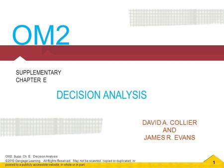 1 OM2, Supp. Ch. E. Decision Analysis ©2010 Cengage Learning. All Rights Reserved. May not be scanned, copied or duplicated, or posted to a publicly accessible.