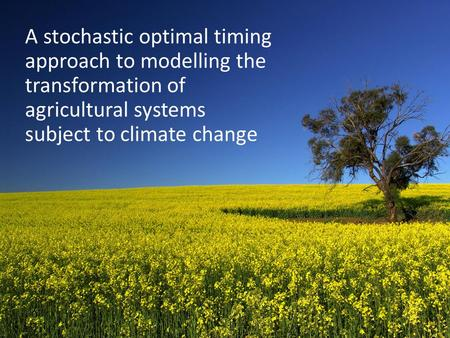 A stochastic optimal timing approach to modelling the transformation of agricultural systems subject to climate change.