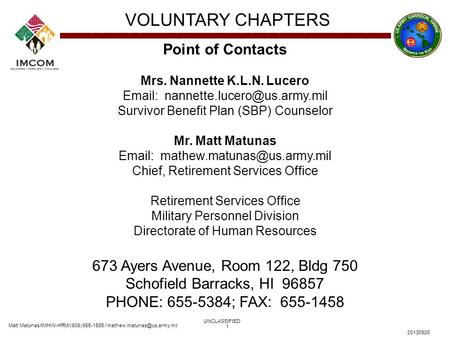 Matt Matunas/IMHW-HRM/(808) 655-1585 / VOLUNTARY CHAPTERS UNCLASSIFIED 20130926 1 Point of Contacts Mrs. Nannette K.L.N. Lucero.