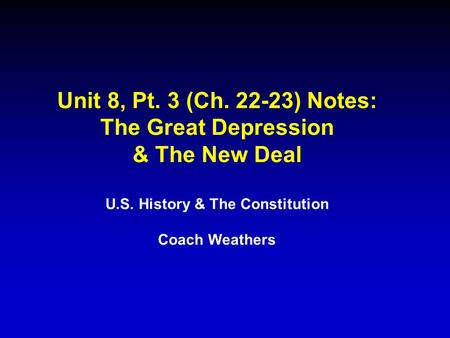 U.S. History & The Constitution