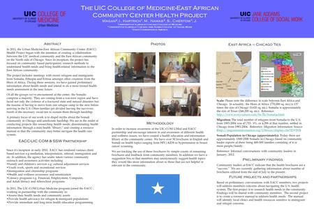 The UIC College of Medicine-East African Community Center Health Project Magan 2, I., Hartrich 1, M., Nawab 3, S., Chertow 1, J. 1 University of Illinois.