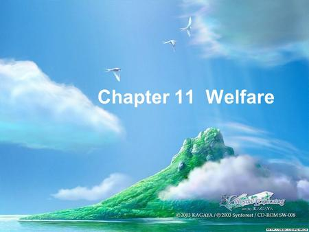 Chapter 11 Welfare. Poverty: Mind or Matter?  What is mind?  It doesn't matter.  What is (the) matter?  Never mind.