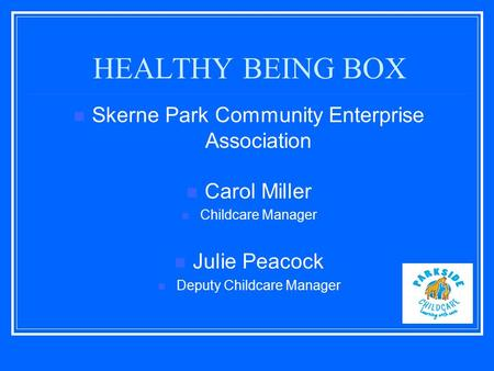 HEALTHY BEING BOX Skerne Park Community Enterprise Association Carol Miller Childcare Manager Julie Peacock Deputy Childcare Manager.