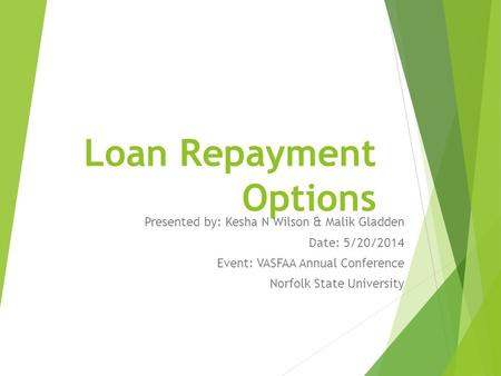 Loan Repayment Options Presented by: Kesha N Wilson & Malik Gladden Date: 5/20/2014 Event: VASFAA Annual Conference Norfolk State University.