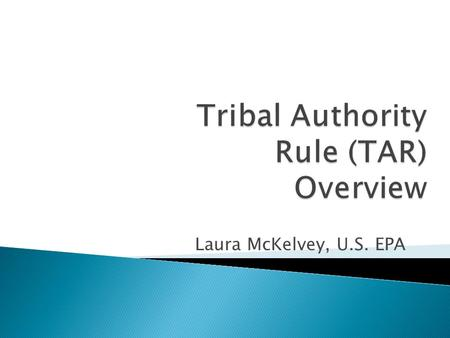 Laura McKelvey, U.S. EPA. 2  CAA Implementation Authority [Section 301(d)] ◦ 1990 CAA Amendments ◦ Tribal air management authority ◦ TAS / TIP.