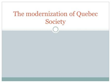 The modernization of Quebec Society. The Great Depression A period of economic hardship in North America from 1929 to 1939 Many people were left unemployed.