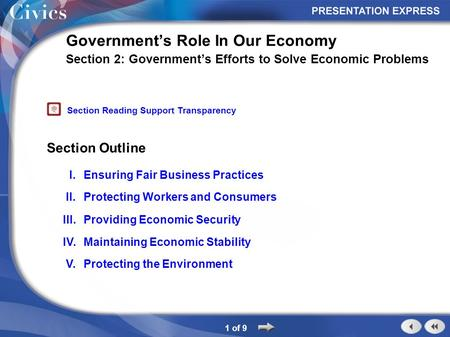 Section Outline 1 of 9 Government's Role In Our Economy Section 2: Government's Efforts to Solve Economic Problems I.Ensuring Fair Business Practices II.Protecting.