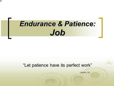 "Endurance & Patience: Job ""Let patience have its perfect work"" (James 1:4)"