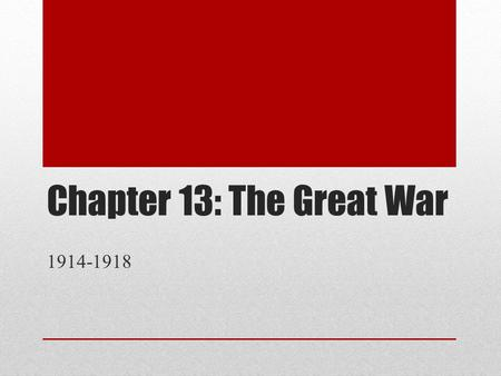 Chapter 13: The Great War 1914-1918.