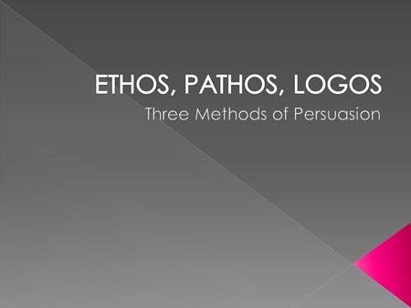  Ethos appeals to an audience by creating an atmosphere of trust.  Ethos highlights the character of its source. We look less to the message than to.