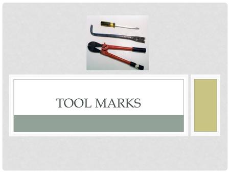 TOOL MARKS. A tool mark is considered to be any impression, cut, gouge, or abrasion caused by a tool coming into contact with another object.