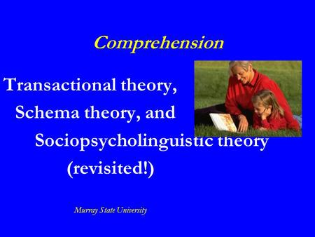 Comprehension Transactional theory, Schema theory, and Sociopsycholinguistic theory (revisited!) Murray State University.