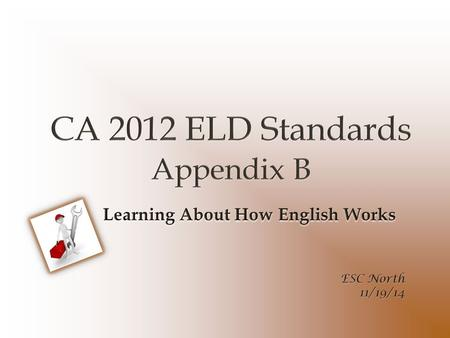 Objective Develop an understanding of Appendix B: CA ELD Standards Part II: Learning About How English Works.