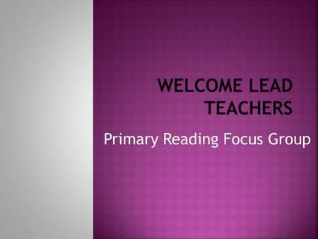 Primary Reading Focus Group