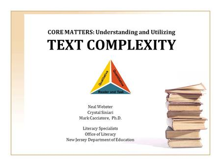 CORE MATTERS: Understanding and Utilizing TEXT COMPLEXITY
