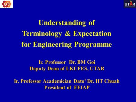 Understanding of Terminology & Expectation for Engineering Programme
