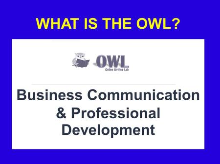 WHAT IS THE OWL? Business Communication & Professional Development.