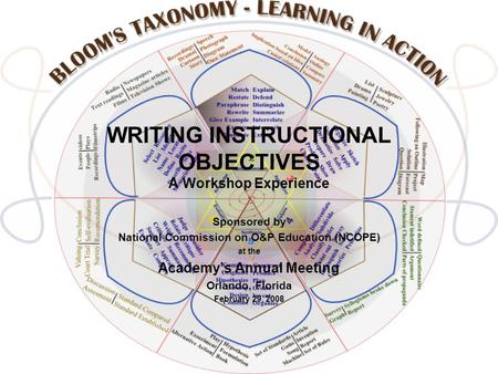 WRITING INSTRUCTIONAL OBJECTIVES A Workshop Experience Sponsored by National Commission on O&P Education (NCOPE) at the Academy's Annual Meeting Orlando,